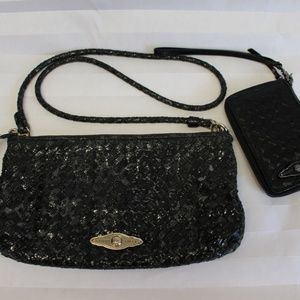 ELLIOTT LUCCA Black Clutch WOVEN Purse and Wallet